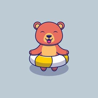 Urso fofo com anel de borracha pronto para nadar