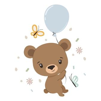 Urso fofo com balão e borboletas