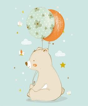 Urso fofo com balões e pássaros ilustração em vetor desenhada à mão