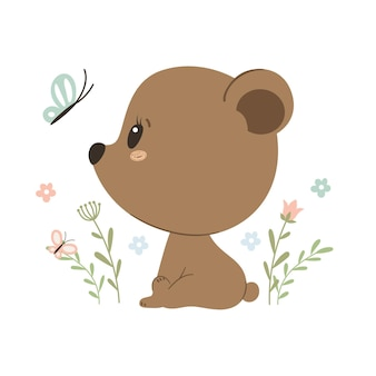 Urso fofo com borboleta isolada no branco