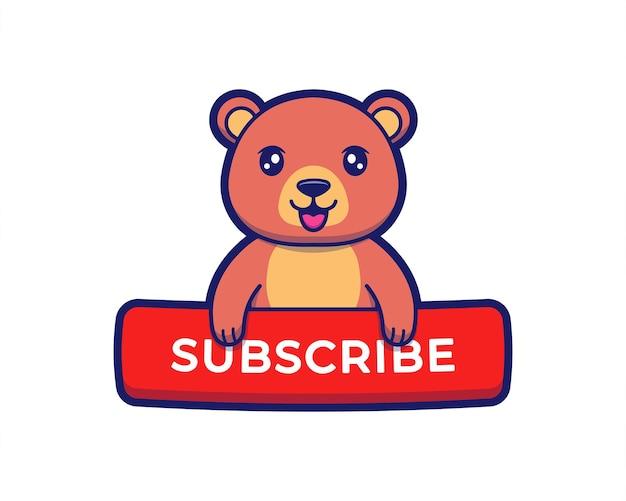 Urso fofo com botão de inscrição