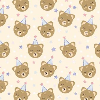 Urso fofo com chapéu de festa e estrela padrão sem emenda