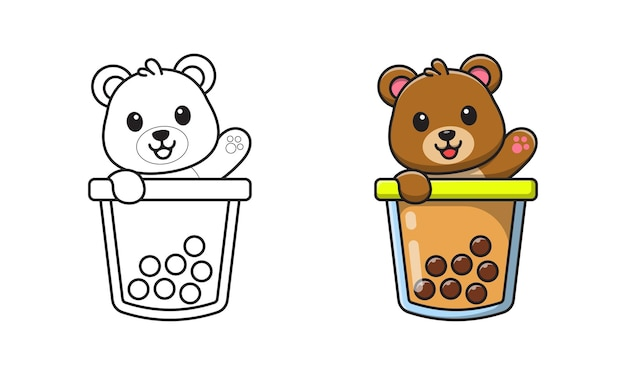 Urso fofo com desenho de bolha de chá para colorir