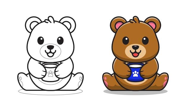 Urso fofo com desenho de café para colorir