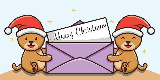 Urso fofo com envelope aberto feliz natal banner design