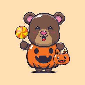 Urso fofo com fantasia de abóbora de halloween ilustração fofa dos desenhos animados de halloween
