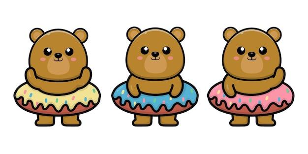 Urso fofo com ilustração de desenho animado de donut