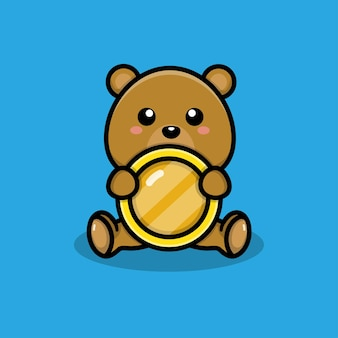Urso fofo com ilustração de moedas