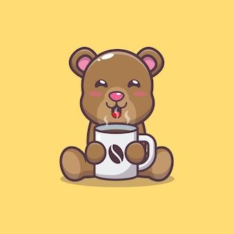 Urso fofo com ilustração vetorial de desenho animado de café quente