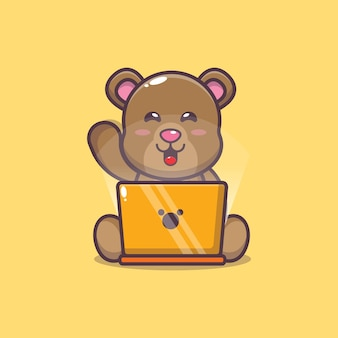 Urso fofo com ilustração vetorial de desenho em laptop