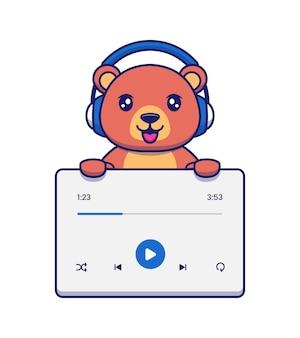 Urso fofo com interface de usuário de música