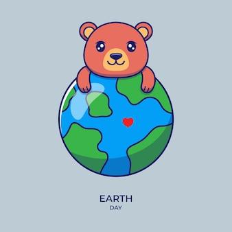 Urso fofo com o planeta terra