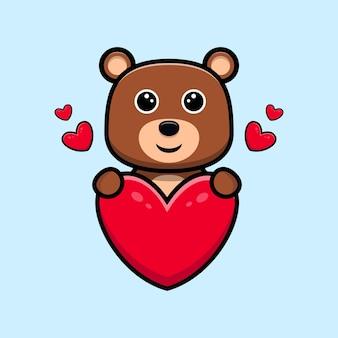 Urso fofo com personagem de desenho animado de coração grande