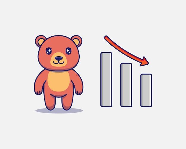Urso fofo com sinal gráfico para baixo