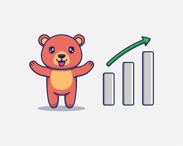 Urso fofo com sinal gráfico para cima