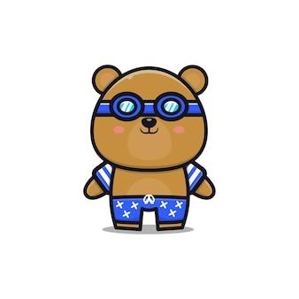 Urso fofo com um tema de verão ilustração animal conceito de verão