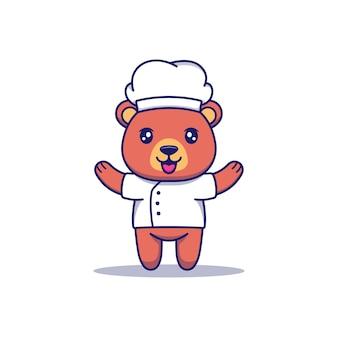 Urso fofo com uniforme de chef