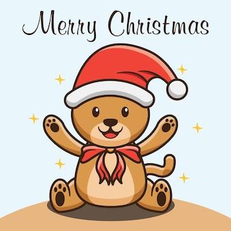 Urso fofo comemorando design do feliz natal