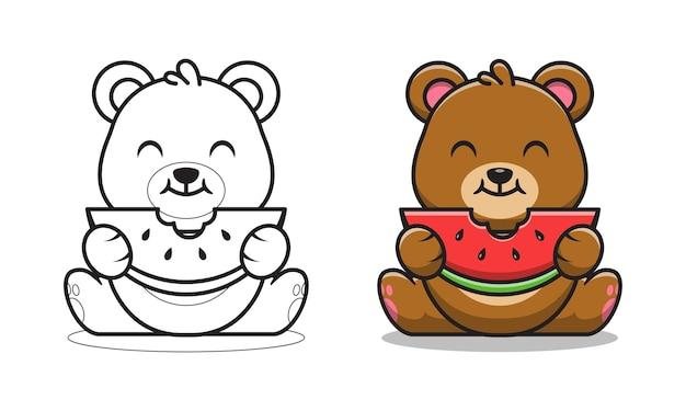 Urso fofo comendo desenho de melancia para colorir