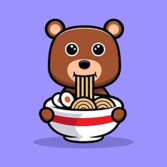 Urso fofo comendo macarrão com personagem de desenho animado