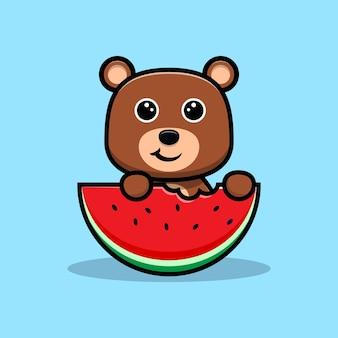 Urso fofo comendo melancia personagem de desenho animado