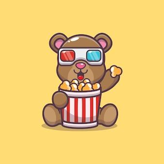 Urso fofo comendo pipoca e assistindo filme em 3d