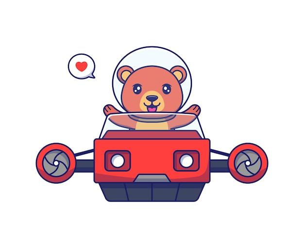 Urso fofo dirigindo veículo voador