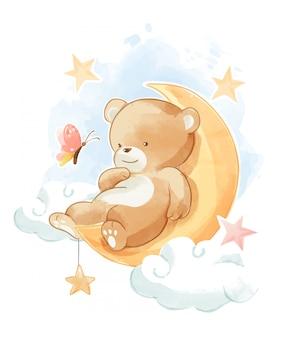 Urso fofo dormindo na ilustração da lua