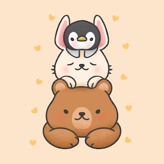 Urso fofo e coelho adormecido em cima de pinguim cartoon mão desenhada estilo