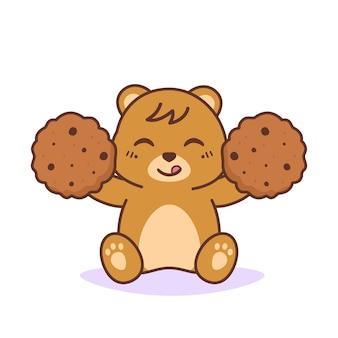 Urso fofo e feliz com biscoitos