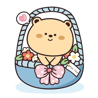 Urso fofo e flor na cesta azul
