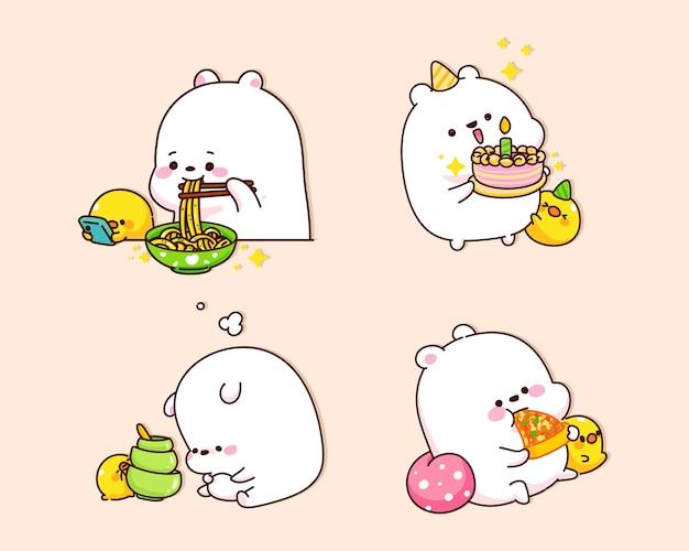 Urso fofo é ilustração de desenho animado feliz