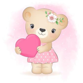 Urso fofo e ilustração de desenho de coração desenhado à mão