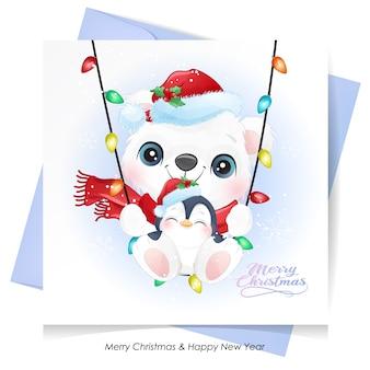 Urso fofo e pinguim para o natal com cartão em aquarela