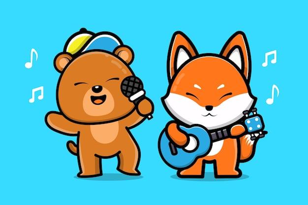Urso fofo e raposa tocando música animal amigo ilustração dos desenhos animados