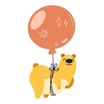 Urso fofo engraçado voando em um balão vermelho, ilustração dos desenhos animados feliz isolada no fundo branco.