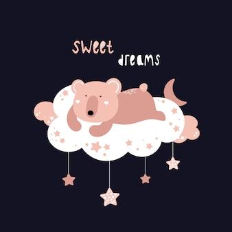 Urso fofo está dormindo em uma nuvem.