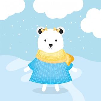 Urso fofo feminino polar com caráter de roupas