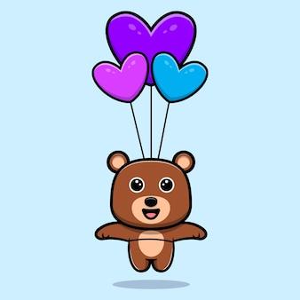 Urso fofo flutuando com o personagem de desenho animado de balão de coração