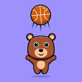 Urso fofo jogando basquete personagem de desenho animado
