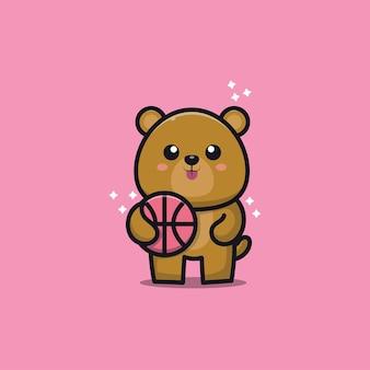 Urso fofo jogando basquete