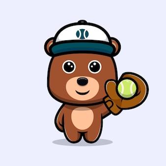 Urso fofo jogando beisebol personagem de desenho animado