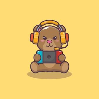 Urso fofo jogando um jogo ilustração vetorial de desenho animado