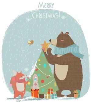 Urso fofo, lebre e raposa - cartão de vetor de natal