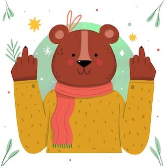 Urso fofo mostrando o símbolo de foda-se