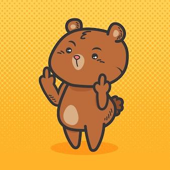 Urso fofo mostrando o símbolo de porra