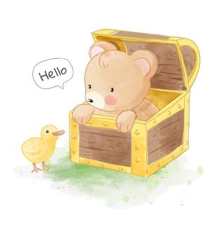Urso fofo na caixa de tórax com ilustração de patinho