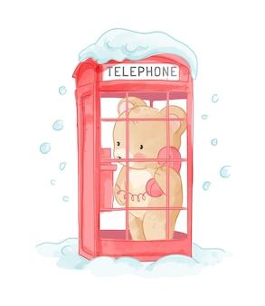 Urso fofo na ilustração da cabine telefônica com neve