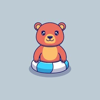 Urso fofo nadando com anel de borracha