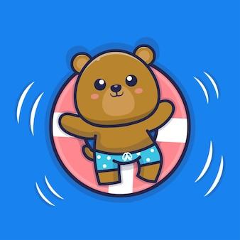 Urso fofo nadando com ilustração de anel de natação